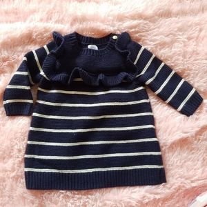 Baby Gap Ruffled Stripe Sweater Dress 0-3 Months